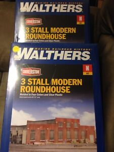 N scale Walthers 3 Stall Roundhouse x 2