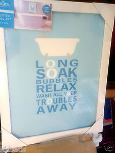Stunning-Text-Bath-Tub-Wash-Your-Troubles-Away-Blue-White-Framed-Wall-Art-New