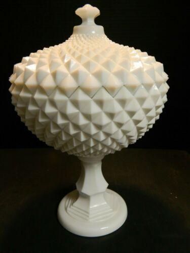 "Vintage Westmoreland Diamond Milk Glass 14"" Pedestal Covered Compote Excellent"