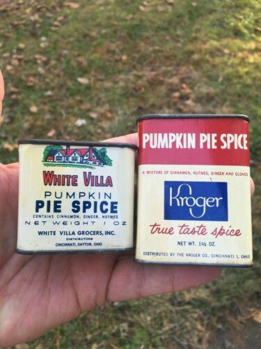 White Villa & Kroger Pumpkin Spice Tins Lot of 2