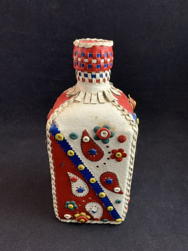Vintage Decorative Leather-Covered Handmade Glass Decanter