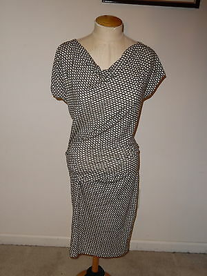 CABI BLACK GRAPHIC MONROE CAP SLEEVE SLOUCHY NECK BELOW KNEE RUCHED DRESS SIZE S for sale  Monroe