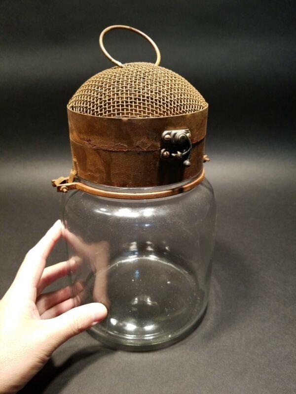 Antique Vintage Style Iron & Glass Firefly Lightning Bug Jar Cage trap