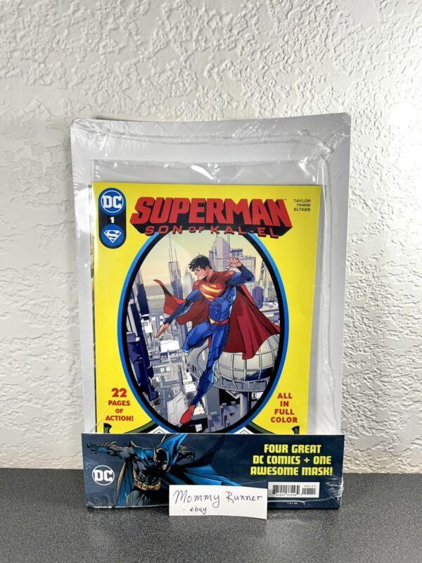 Superman: Son of Kal-El #1 Walmart FACTORY SEALED 4 Total DC Comic Bundle + Mask