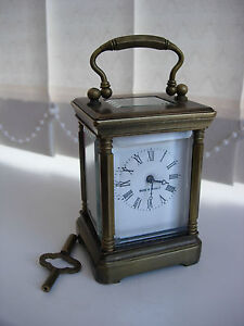 Miniature  Brass Carriage Clock Working Order Bevelled Glass Stunning French