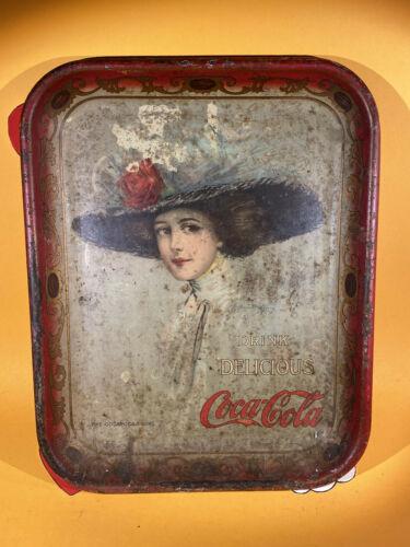 Authentic 1909 Coca Cola tray hamilton king the Coca Cola girl Original