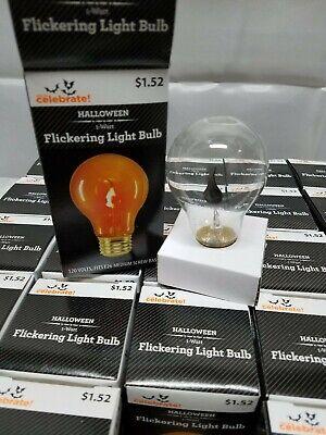 3 Pack Orange Flickering Light Bulb Medium Base 120V E26 Flame Halloween Fall