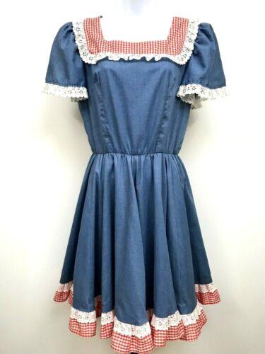 VTG Square Dance Dress Gingham Eyelet Lace Rockabilly Twirl Skirt Ruffle USA M