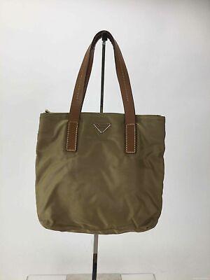 PRADA Brown Fabric Leather Trim Tote Handbag