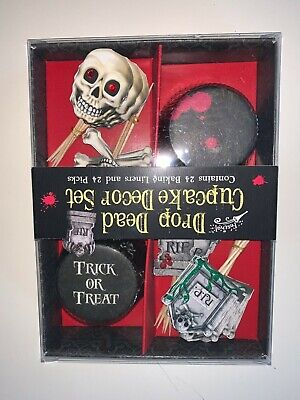 Halloween Drop Dead Cupcake Decor Set 24 liners, - Halloween Cupcake Liner