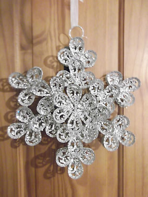 Giant Silver Glitter Snowflake Christmas Hanging Decoration ~ 30 cm  (Giant Snowflakes)