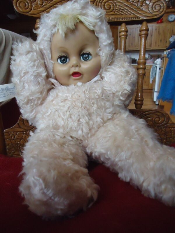 "Vintage  Gund Swedlin Plush Doll Dolligund Plastic face Plush body 15""  135492"
