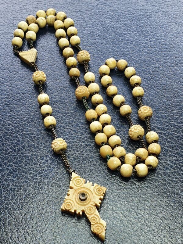 ANTIQUE VICTORIAN CARVED BOVINE STANHOPE ROSARY BEADS