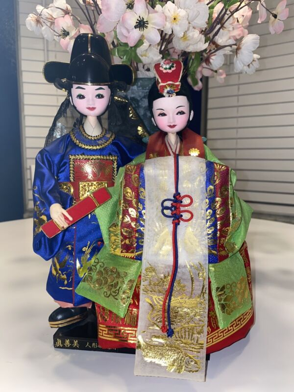 """12"""" Vintage Korean Asian Pair Traditional Dressed Detail On Stand Excellent Cond"""