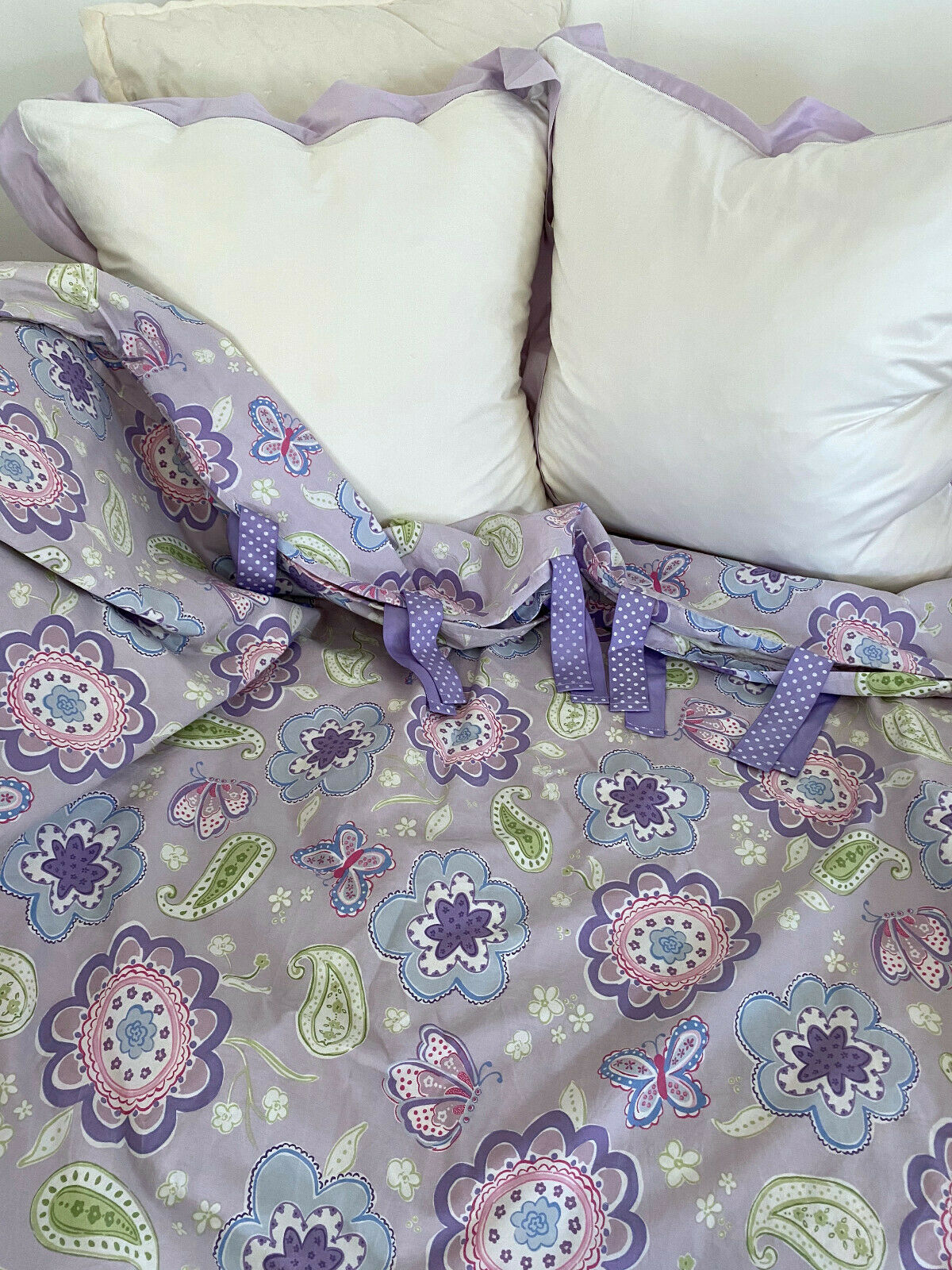 Pottery Barn Kids Samantha Twin Size Duvet Cover Pale Blue Pink Flowers Paisley - $45.99
