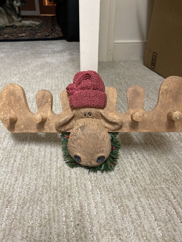 Christmas Moose Wall Hanging With Hooks