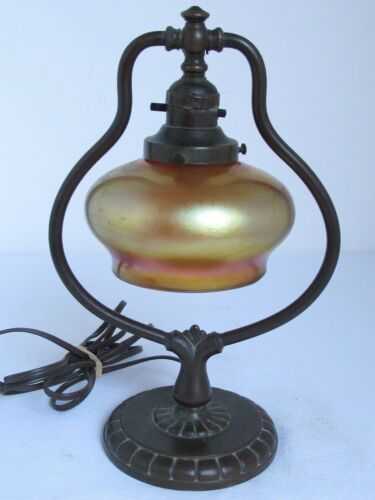 Antique Handel Harp Table or Desk Lamp with Art Glass Shade