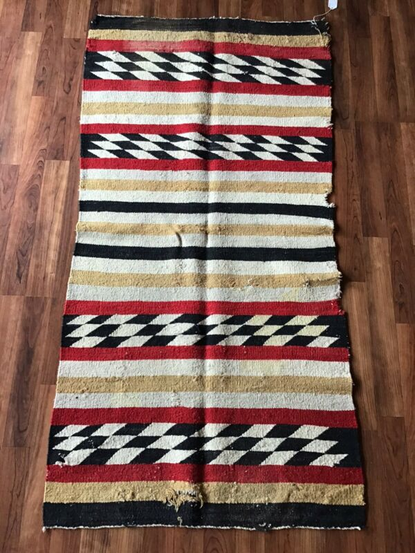 Vintage 50s Banded Checker Navajo Indian Rug Blanket 57.5x28.5 AS IS Cond