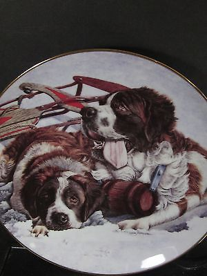 Artaffects 1993 Love Puppies WINTER PALS St Bernard  Ltd Ed Plate