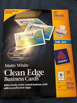 Avery Ink Jet 28877 White Clean Edge Business Cards 120 Template