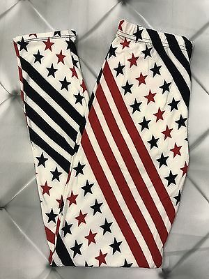 One Size Flag Stars Print Leggings OS 2-10 Butter Soft Red White And Blue