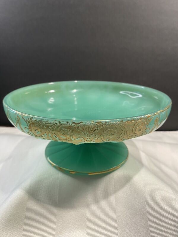 Vintage Jade Green Glass Small Pedestal Candy Dish With Gold Trim Retro