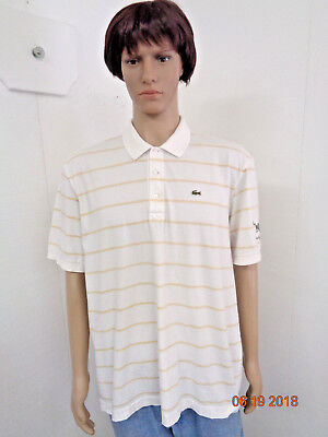 Mens Lacoste  Size 8 Short Sleeve 3 Button Polo Shirt Wildfire Logo Left Sleeve