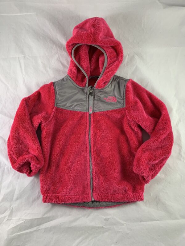 THE NORTH FACE Toddler Osso Hooded Fleece Jacket Bright Pink with gray Size 3T