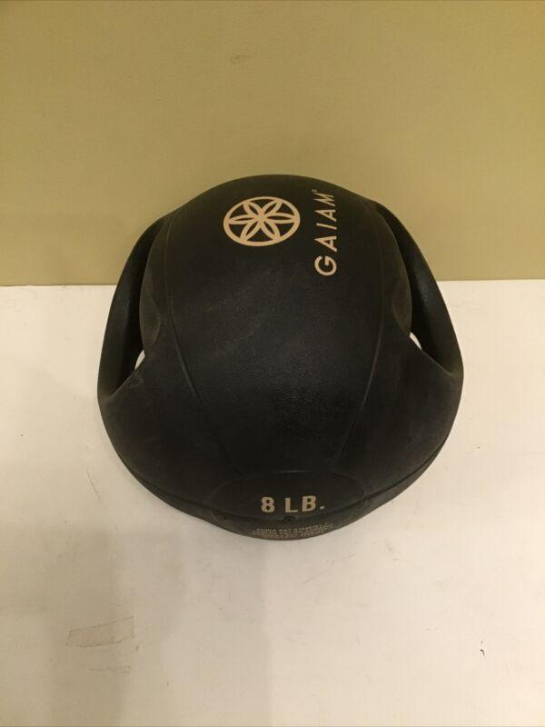 Gaiam 8 lb Dual Grip Handles Medicine Exercise Ball Training Workout Free Ship