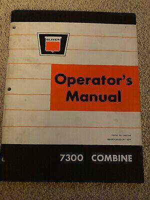 Oliver White 7300 Combine Operators Manual 1972 Farm Equipment