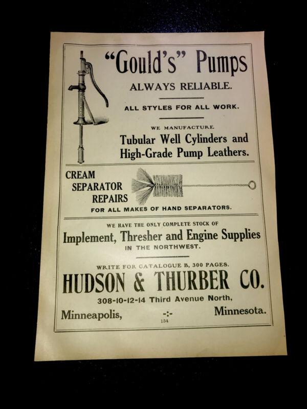 1908 Hudson & Thurber - Gould Water Pump Farm Advertising - Minneapolis