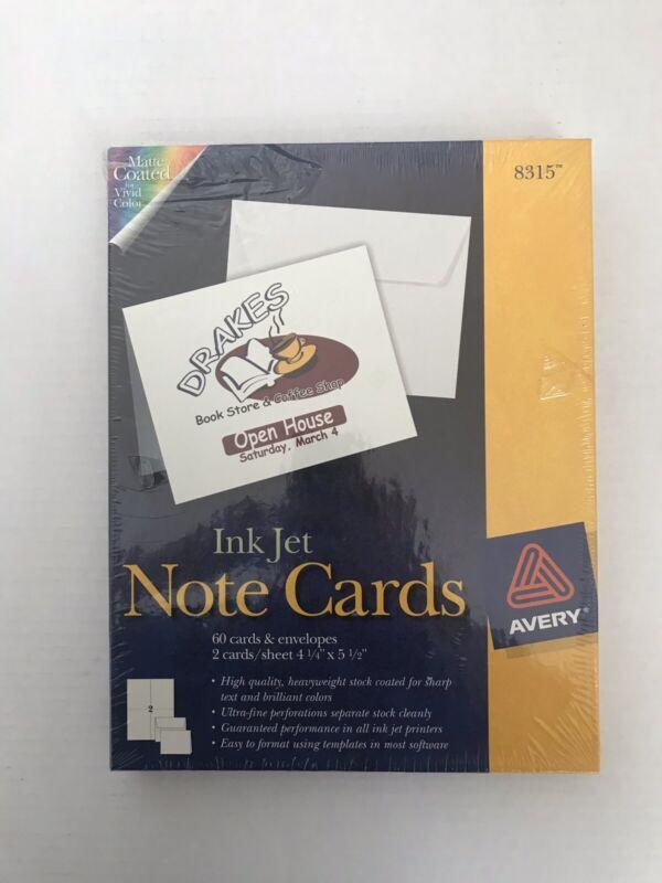 Avery Inkjet Notecards Model 8315 Matte Coated 60 Cards / Envelopes
