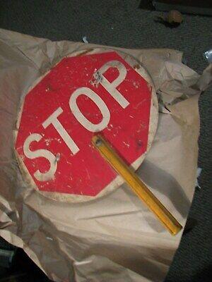 "Vintage Hand Held yellow Handle Stop-Slow Sign Traffic Crossing 15"""