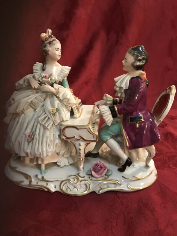 Large Dresden Porcelain Lace Figurine Man & Lady At Piano