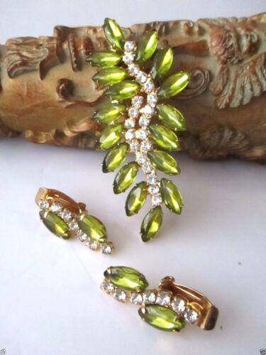 Green Leaf Rhinestone Demi Parure Set Clip Earrings Pin FREE SHIP Prong GLITZY
