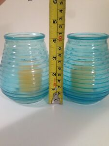 Turquoise Glass Jar Candle Holders