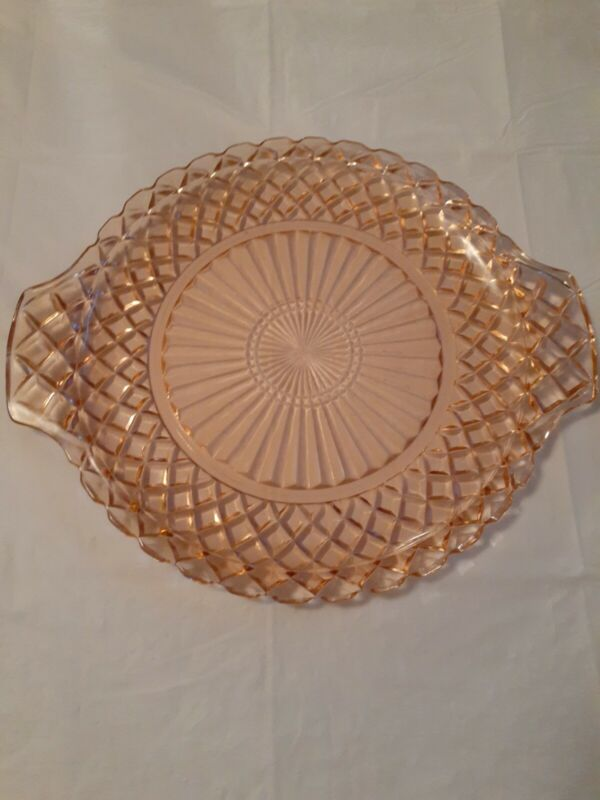 Vtg Anchor Hocking Waterford Pink Glass Round Platter Cake Plate Handled 12""