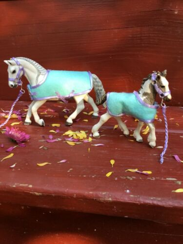 Turquoise and Lavender Schleich Mare and Foal Blanket Set HORSES NOT INCLUDED