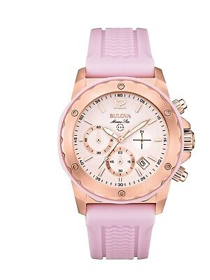 Bulova Women's Marine Star Chronograph Purple Rubber Strap 36mm Watch 98M118