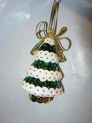 CHRISTMAS TREE ORNAMENT HOLIDAY DECOR SEQUIN GREEN WHITE GOLD HANDMADE CRAFTS