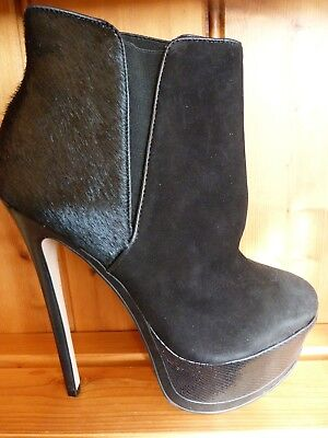 CARVELA STILETTO BOOTS .. BLACK.. SUEDE & PONY / UK 8  EU 41 / DISCOUNT IN - Discount Party Store