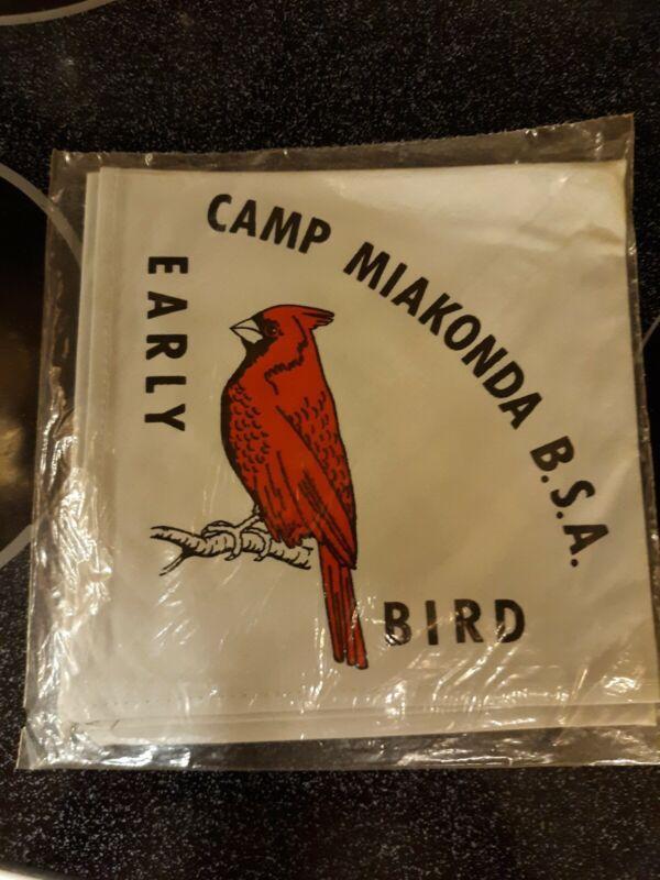 Vintage Boy Scout Gray Neckerchief Scarf Early Bird Camp Miakonda