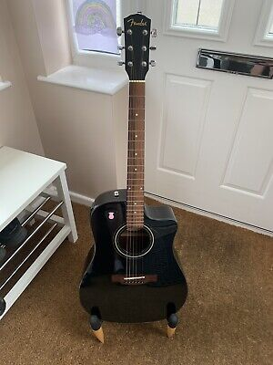 FENDER CD 60 CE BLK ELECTRO ACOUSTIC GUITAR BLACK WITH EXTRAS