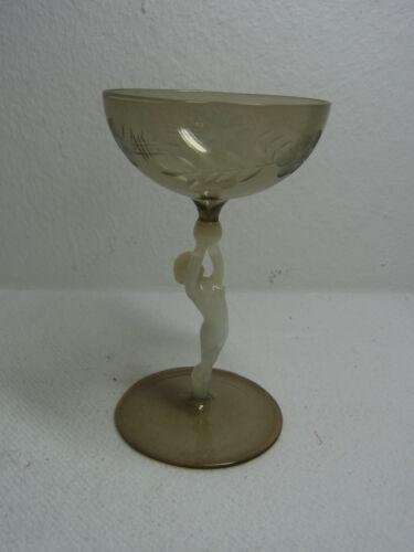 Vintage Lauscha Bimini Art Glass Nude Liqueur Glass  #^ 3