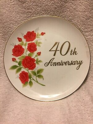 Papel California 40th Anniversary Red Rose Hanging Plate](California Party Supplies)