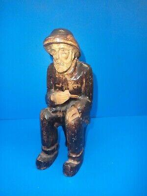 Old Fisherman Sailor Man Carved  Wooden Figure Nautical  24CM