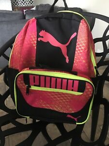 Girls puma backpack with lunch pack