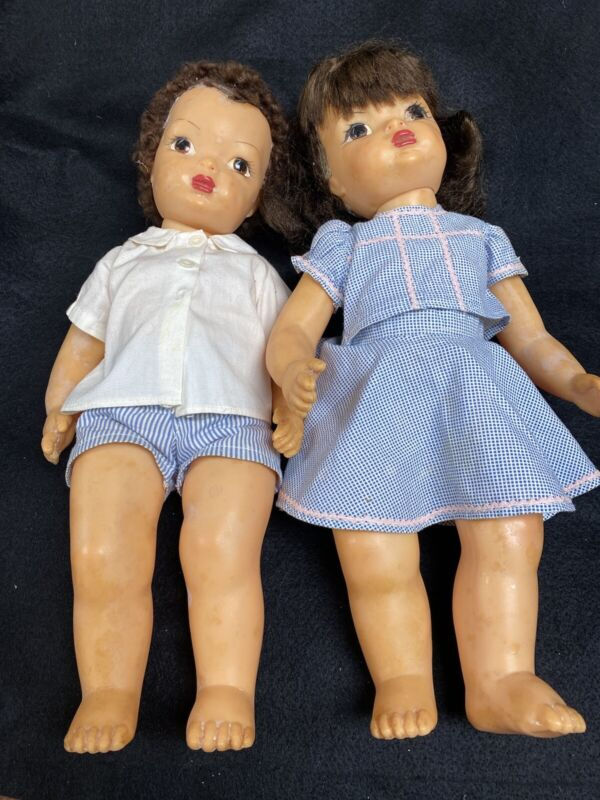 Terry Lee And Jerry Lee Dolls With Box Of Clothes