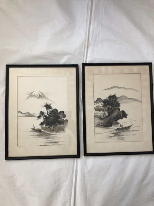 Vintage Japanese Silk Embroidery Picture Framed Art  Gray Silver Gold Oriental