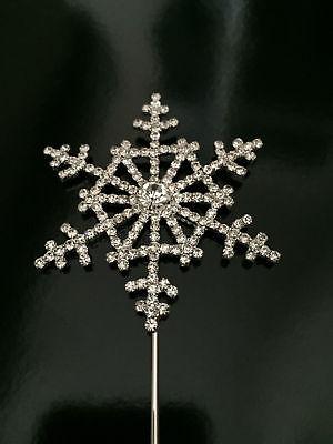 Disney Frozen Diamante Snowflake Cake Topper in Silver for Kids Party Decor UK ()